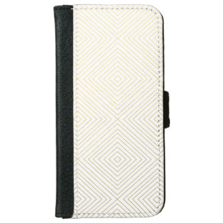 Modern Geometric Gold Squares Pattern on White Col iPhone 6 Wallet Case