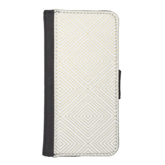 Modern Geometric Gold Squares Pattern on White Col Phone Wallet