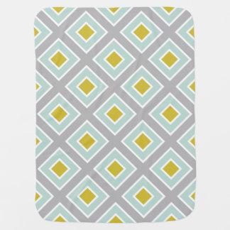 Modern Geometric Gray Mint Blue Green Pattern Receiving Blankets