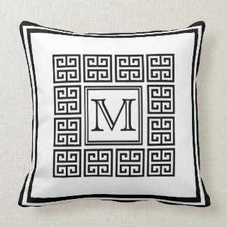 Modern Geometric Greek key Pattern Monogram Cushion