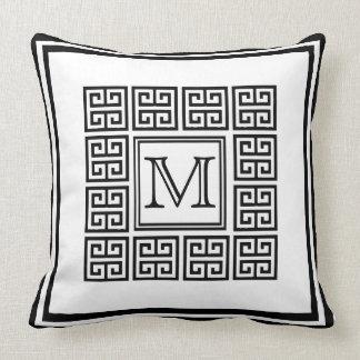 Modern Geometric Greek key Pattern Monogram Throw Pillow