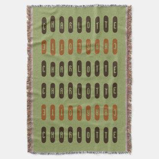 Modern Geometric Green Brown Orange Custom Name Throw Blanket