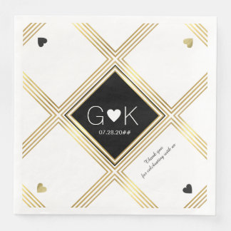 modern geometric lines with monogram for wedding disposable serviettes