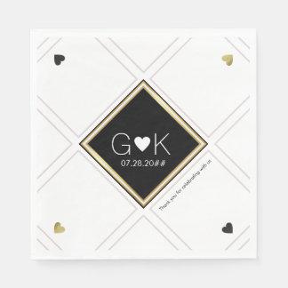 modern geometric lines with monogram . wedding disposable napkin