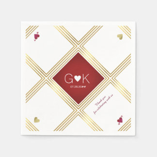 modern & geometric lines with red monogram wedding disposable napkins