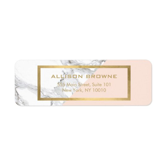 Modern Geometric Marble/Pink and Faux Gold Return Address Label