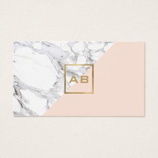 Modern Geometric Marble/Pink Monogram Logo Business Card