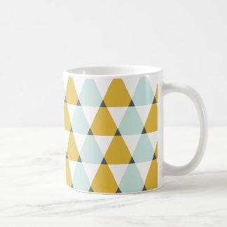 Modern Geometric Mint Yellow Triangles Pattern Basic White Mug
