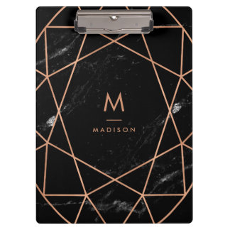 Modern Geometric on Black Marble Look Clipboard