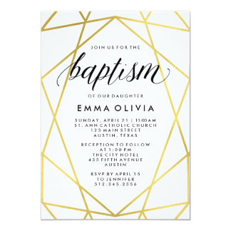 Modern Geometric on White Baptism | Faux Gold Look Card