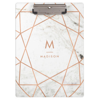 Modern Geometric on White Marble Clipboard