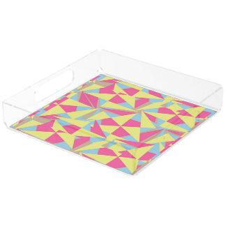 Modern Geometric Pastel Pink Blue Acrylic Tray