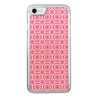 Modern Geometric Pattern Hexagons Hot Pink White Carved iPhone 8/7 Case
