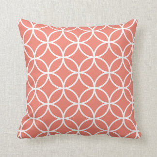 Modern Geometric Pillow in Coral