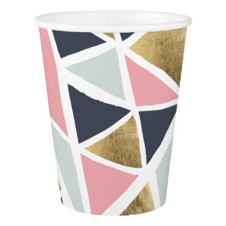Modern geometric pink navy blue gold triangles paper cup