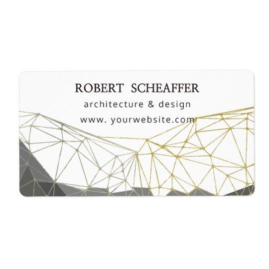 Modern Geometric Polygonal Gold, Silver, White Shipping Label