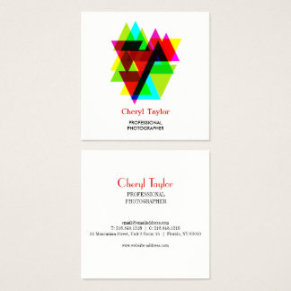 Modern Geometric Professional Photographer Square Business Card