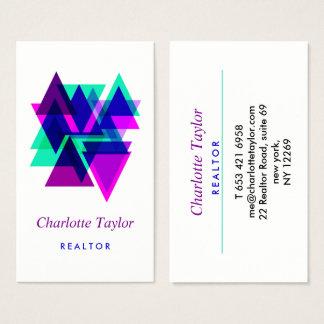 Modern Geometric Professional Real Estate Business Card