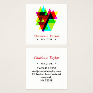 Modern Geometric Professional Real Estate Square Business Card