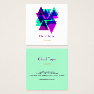 Modern Geometric Professional Realtor  Consultant Square Business Card