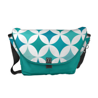 Modern Geometric Retro Totally Teal Courier Bag