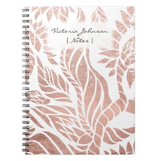 Modern geometric rose gold botanical floral spiral notebook