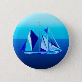Modern Geometric Sailboat / Yacht, Cobalt Blue 6 Cm Round Badge