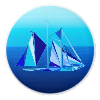 Modern Geometric Sailboat / Yacht, Cobalt Blue Ceramic Knob