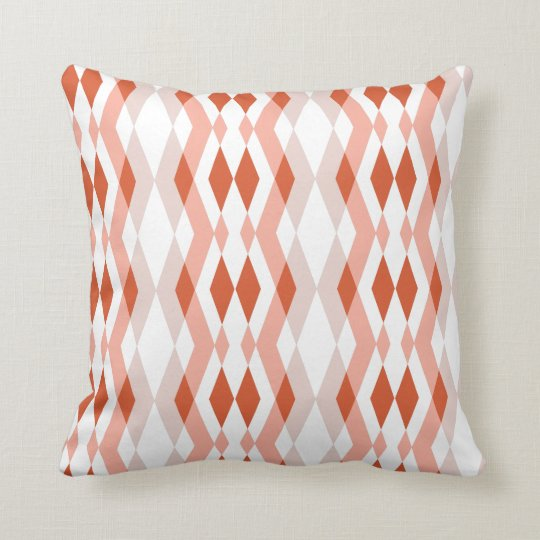Modern geometric shapes in pastel pink coral cushion