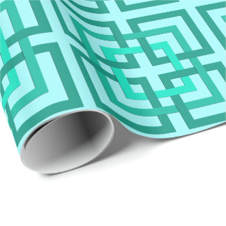 Modern Geometric Squares, Aqua and Turquoise Wrapping Paper