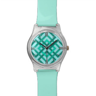Modern Geometric Squares, Aqua and Turquoise Wristwatches