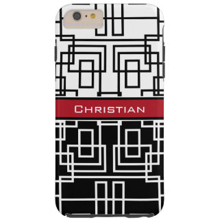 Modern Geometric Squares Black White and Red Tough iPhone 6 Plus Case