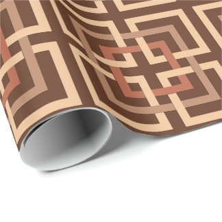 Modern Geometric Squares, Chocolate Brown and Tan Wrapping Paper