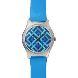 Modern Geometric Squares, Cobalt and Sky Blue Watch