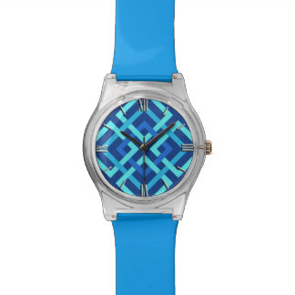 Modern Geometric Squares, Cobalt and Sky Blue Wrist Watches