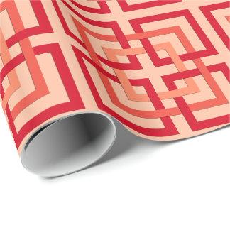 Modern Geometric Squares, Coral Orange & Mandarin Wrapping Paper