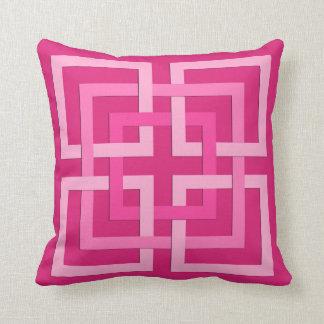 Modern Geometric Squares, Fuchsia and Light Pink Throw Pillow