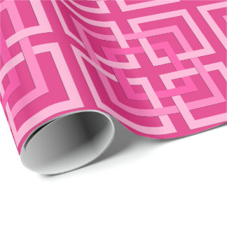Modern Geometric Squares, Fuchsia and Light Pink Wrapping Paper