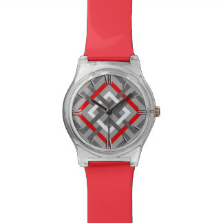 Modern Geometric Squares, Gray, Red and White Watch