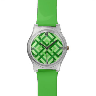 Modern Geometric Squares, Mint Green and Emerald Watch