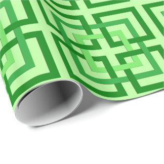 Modern Geometric Squares, Mint Green and Emerald Wrapping Paper