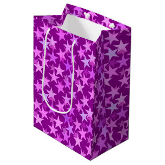 Modern Geometric Stars, Amethyst Purple and Orchid Medium Gift Bag
