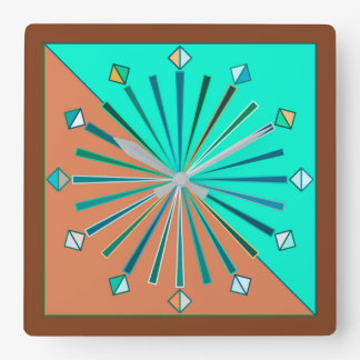 Modern Geometric Sunburst, Aqua & Chocolate Brown Square Wall Clock