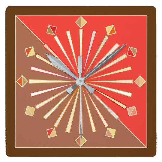 Modern Geometric Sunburst, Coral Orange and Tan Square