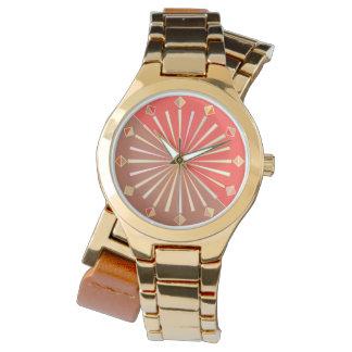 Modern Geometric Sunburst, Coral Orange and Tan Watch