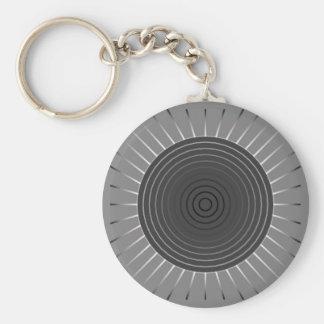 Modern Geometric Sunburst - Dark Hematite Grey Key Ring