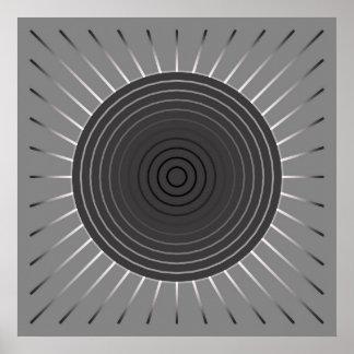 Modern Geometric Sunburst - Dark Hematite Grey Print