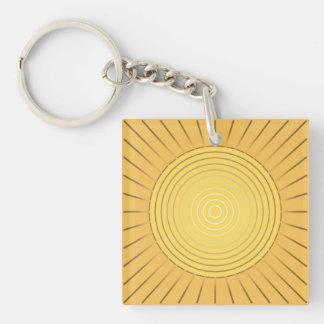 Modern Geometric Sunburst - Mustard Gold / Yellow Key Ring