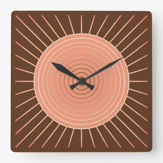 Modern Geometric Sunburst - Peach and Brown Square