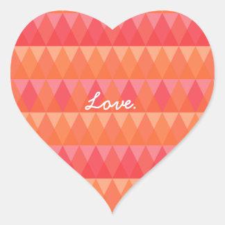 Modern Geometric Triangle Pattern Coral & Pink Art Heart Sticker